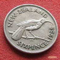 New Zealand 6 Sixpence 1958 KM# 26.2   Nova Zelandia Nuova Zelanda Nouvelle Zelande - Nouvelle-Zélande