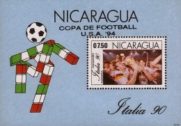 Nicaragua World Cup Soccer Championship Sc 1852a OVERPRINTED S/S MNH 1991 - Coupe Du Monde