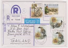 NAMIBIA - Birds & Elephants - 2008 Commercial Registered Cover - Swakopmund To Thailand - Namibia (1990- ...)