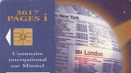 TELECARTE  25.  L'ANNUAIRE INTERNATIONAL SUR MINITEL - France
