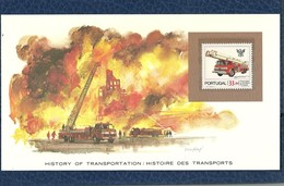 HISTOIRE DES TRANSPORTS - TIMBRE NEUF PORTUGAL SUR CARTE  - CAMION DE POMPIERS SNORKEL - Camiones