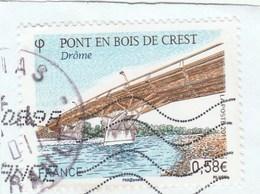 FRANCE 2011 PONT DE CREST OBLITERE SUR FRAGMENT YT 4544 -                                       TDA199A - France