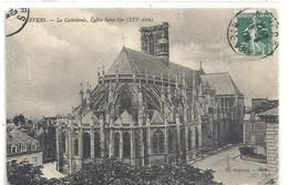 NEVERS - LA CATHEDRALE , EGLISE SAINT-CYR . AFFR LE 18-6-1908 SUR VERSO - Nevers