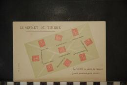 Cp, Le Secret Du Timbre - Le VERT Te Parle De L'espoir , Dos Simple - Timbres (représentations)