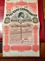 WEST  RAND  CONSOLIDATED   MINES  LIMITED  ----- Titre  De  10   Actions De  10  Shillings - Mines