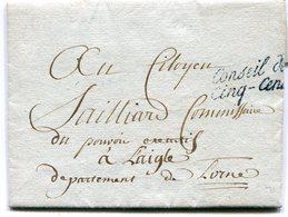 Marque SENECHAL N°897B Conseil Des Cinq Cent Sur LAC De PARIS Du 03/10/1797 Pour LAIGLE - Marcophilie (Lettres)