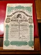 WEST  RAND  CONSOLIDATED   MINES  LIMITED  ----- Titre  De  25  Actions De  10  Shillings - Mines