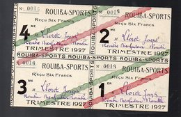 ROUIBA (Algérie) 4 Reçus De Cotisations Pour 1927 ROUIBA SPORT (membre Bienfaiteur) (PPP8428) - Alte Papiere