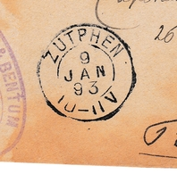 Zupthen 1893 Nederland  Pays Bas Lille Willemsen & Bentum - 1891-1948 (Wilhelmine)