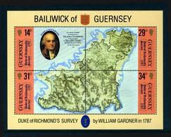 GUERNSEY - 1987 DUKE OF RICHMOND'S SURVEY SHEETLET (4V) FINE MNH ** SG MS393 - Geography