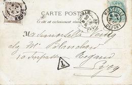 BLANC N°111 (IIA) Marseille Départ 20 Mai 1904 Timbre-taxe N°29 Lyon 21 Mai 1904 - CP Marseille Ascenseur Notre-Dame - Marcophilie (Lettres)
