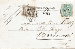 BLANC N°111 (IIA) Lyon 29 Janvier 1904 Timbre-taxe N°29 Mirecourt 30 Janvier 1904 - CP Lyon Tombeau Du Maréchal - Storia Postale