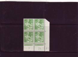 N° 1231 - 0,10F PAYSANNE - K De K+L - 2° Tirage/1° Partie Du 22.11.61 Au 19.12.61 - 26.11.1961 - - Coins Datés