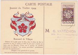JOURNEE DU TIMBRE / 1944 / PARIS / Renouard De Villayer Créateur De La Petite Poste De Paris... - Cartes-Maximum
