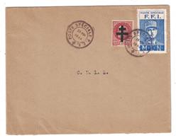 1944 - LETTRE CACHET POSTE SPECIALE FFI TIMBRE PETAIN 517 SURCHARGÉ CROIX LORRAINE VIGNETTE MLN DE GAULLE LIBERATION - Marcophilie (Lettres)