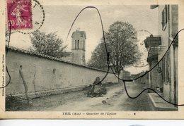 CPA. D01. THIL . Quartier De L'Eglise. Épicerie PERNAUD TABAC - France