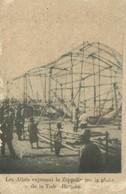 Aviation, Military, World War I., Wrecks Of A Shut Down Zeppelin, Old Postcard - Dirigibili