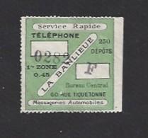 Ticket  -  Service Rapide Téléphone 1 Er Zone  Dépot F - 0.45  - La Banlieu -  La Banlieu  -  Messagerie Automobile - Alte Papiere