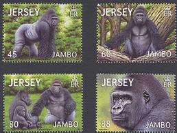 Jersey 2012 Yvertn° 1757-1760  *** MNH Cote 10 Euro  Faune Gorille Gorilla - Jersey