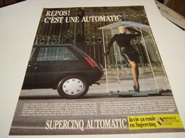 ANCIENNE AFFICHE  PUBLICITE VOITURE SUPERCINQ DE RENAULT 1987 - Cars