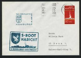 """B-296, BRD, Marine-Schiffspost / Bordstempel, Torpedo-Schnellboot P 6075 """"S 26 Habicht"""", Tag Der Flotte 1972 - [7] Federal Republic"""
