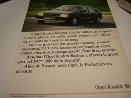 ANCIENNE AFFICHE PUBLICITE VOITURE OPEL KADETT 1980 - Cars