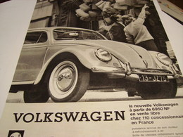 ANCIENNE AFFICHE  PUBLICITE VOITURE VOLKSWAGEN (coccinelle) 1960 - Cars