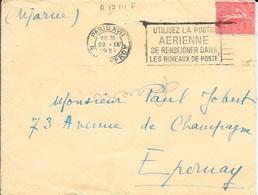SEINE 75  - PARIS XVII   - FLAMME N° A 17 111 F    FD - DESCRIPTION -  1927  - POSTE AERIENNE - Postmark Collection (Covers)