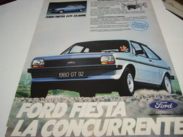 ANCIENNE AFFICHE  PUBLICITE VOITURE FIESTA DE FORD 1980 - Cars