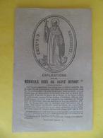 1864 Image Pieuse Religion Catholique Explications Sur La Médaille Dite De Saint BENOIT - Religión & Esoterismo