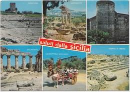 Saluti Dalla Sicilia, Sicily, Multi View, Italy, 1989 Used Postcard [21114] - Italy