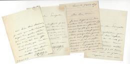 HIPPOLYTE LAZERGES (1817-1887) AUTOGRAPHE ORIGINAL AUTOGRAPH 4 LAS PEINTRE ORIENTALISTE /FREE SHIPPING R - Autographes