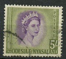 Rhodesia & Nysaland 1954 5SH  Queen Elizabeth II Issue #153  Stamp Is Used - Rhodesia & Nyasaland (1954-1963)