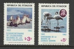 Equateur 1982 Yv. 1031/1032 ** Lions De Mer Flamants Darwin Galapagos - Ecuador