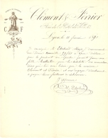 LETTRE R° V° GARANT 1890 CLÉMENT & FÉVRIER 42 RUE DE L'HOTEL DE VILLE LYON RHONE (69) - France