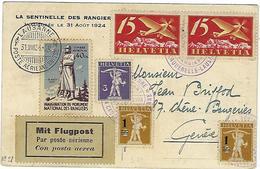 Carte De Suisse, La Caquerelle - Lausanne Le 31 Aout 1924, Via Flugpost, Avec Vignette - Marcofilie