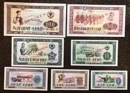 Albania 1 + 3 + 5 + 10 + 25 + 50 + 100 Leke 1976 Specimen Set LOTTO 421 - Albania