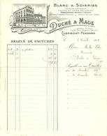 FACTURE 1918 DUCHÉ & MAGE CLERMONT FERRAND BLANC & SOIERIES DENTELLE JUPON RUBAN VELOURS - LOGO MAGASIN - Textilos & Vestidos