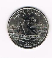 /  U.S.A.  1/4 DOLLAR  RHODE  ISLAND  2001 D - 1999-2009: State Quarters