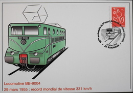 CPM.- FRANCE - Chemins De Fer > Trains - BB 9004 - 50e Anniv. Record Mondial De Vitesse - Bordeaux Le 28.03.2005 -TBE - Treni