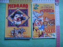 47) 2 Cartes :cirques  Pinder ( J Richard ) , Medrano ( Raoul Gibault) : Recto- Verso : - Circus