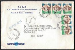 QS15   ITALIA 1990 - Lettera Espresso Con Affrancatura Multipla Castelli £.750 - 1981-90: Storia Postale