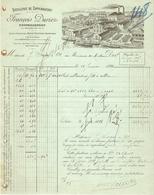 FACTURE 1898 FRANCOIS DURIEZ DISTILLERIE DE COPPENAXFORT BOURBOURG NORD - LOGO USINE - France