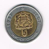 /  MAROKKO 5  DIRHAMS  1987 ( 1407 ) - Maroc