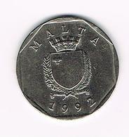 / MALTA  50  CENTS  1992 - Malte