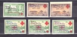 Croix-Rouge - Tonga - 1970 - Timbres De Service33A à C + 34 à 36 - Neufs ** Et * - Non Dentelés - Cruz Roja