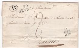 MP 20 GEVREY Du 16.04.1830 ( Indice 10 = 60 € ) - Postmark Collection (Covers)