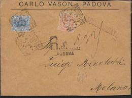 STORIA POSTALE REGNO - ANNULLO TONDO RIQUADRATO  PADOVA/(RACCOM.) (p.2) SU FRONTESPIZIO RACCOMANDATA  13.08.1894 - 1878-00 Umberto I