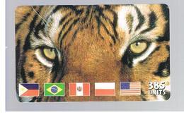 ITALIA (ITALY) - REMOTE - MCI -   ANIMALS TIGER FLAGS  385 UNITS            - USED - RIF. 10927 - Schede GSM, Prepagate & Ricariche