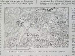 GUERRE 14-18 Semaine Militaire Du  15 Au 22 Juin  Fleury  Vaux Damloup Fort De Souville + Carte Du Front - Alte Papiere
